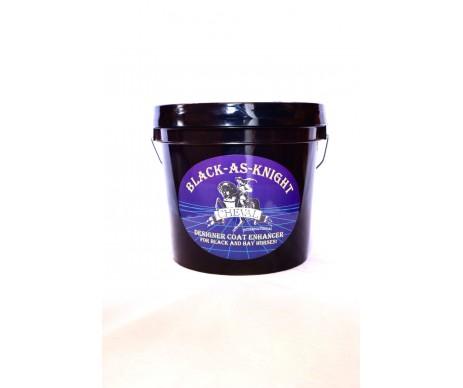 Black-As-Knight Dark Horse Supplement.  The Original Horse Coat Enhancer.  Darkens and shines blacks, bays, and other dark horses for the healthiest coats, manes, tails, and hooves.